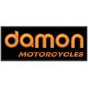 Parche Bordado DAMON MOTORCYCLES (Bordado NARANJA / Fondo NEGRO)