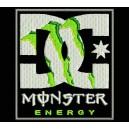 Parche Bordado DC MONSTER ENERGY (Fondo NEGRO)