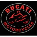 Parche Bordado DUCATI MOTORCYCLES (Bordado ROJO / Fondo NEGRO)