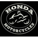 Parche Bordado HONDA MOTORCYCLES (Bordado BLANCO / Fondo NEGRO)
