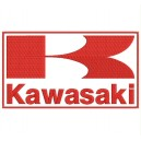 Parche Bordado KAWASAKI (Bordado ROJO / Fondo BLANCO)