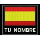 Parche Bordado BANDERA con NOMBRE (Fondo NEGRO)