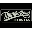 Parche Bordado THUNDER ROAD HONDA (Color BLANCO / Fondo NEGRO)