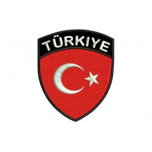 Parche Bordado Bandera TURQUIA (Escudo 7 x 6 cm)