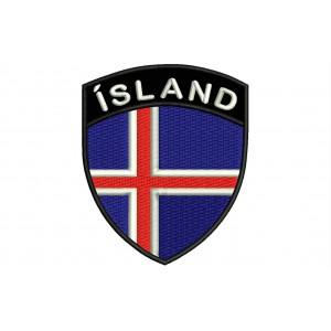 Parche Bordado Bandera ISLANDIA (Escudo 7 x 6 cm)