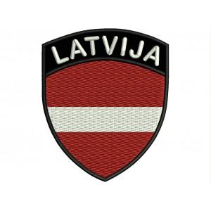 Parche Bordado Bandera LETONIA (Escudo 7 x 6 cm)